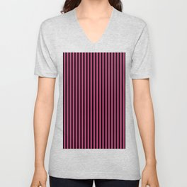 Striped black and dusty pink background Unisex V-Neck