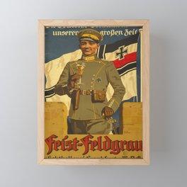 Vintage 1915 WW1 German Feist-field gray Frankfurt Champagne Advertisement Framed Mini Art Print