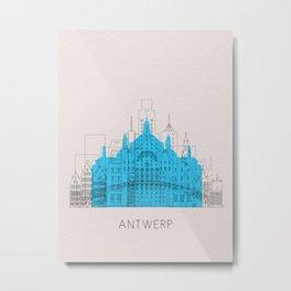 Antwerp Landmarks Poster Metal Print