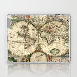 Old map of world hemispheres (enhanced) Laptop & iPad Skin