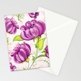 Purple Floral Wallpaper Abstract Design Stationery Cards