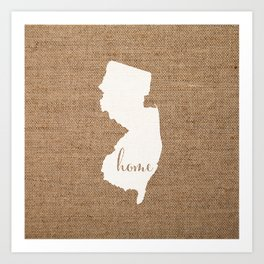 New Jersey is Home - White on Burlap Art Print