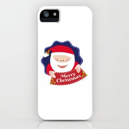 Merry Christmas Santa Claus blue iPhone Case