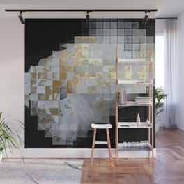 Squares in Gold and Silver Wall Mural
