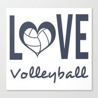 volleyball Canvas Prints featuring Love Heart Volleyball (blue) by raineon