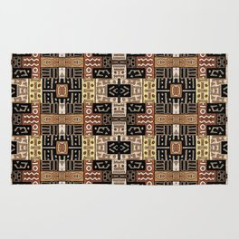 Runic Carved Wood Effect Tribal Pattern Rug