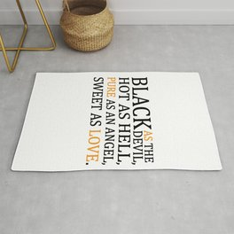 Coffee Black as The Devil Pure as Love Funny Quote Rug