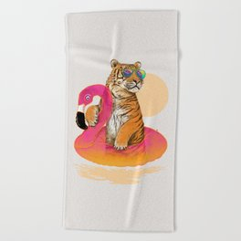 Chillin (Flamingo Tiger) Beach Towel