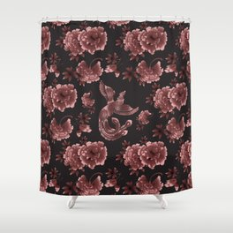 Phoenix Bird with peony flowers Shower Curtain