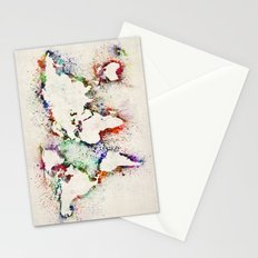 Map of the World Paint Splashes Stationery Cards