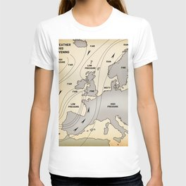 British Isles vintage weather map poster T-shirt