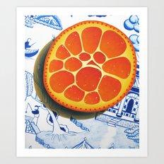 Orange on plate made where they speak Mandarin Art Print