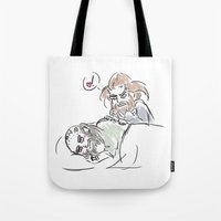 nori Tote Bags featuring little heart by BlueSparkle