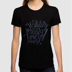 Wibbly wobbly (Doctor Who quote) Womens Fitted Tee Black SMALL