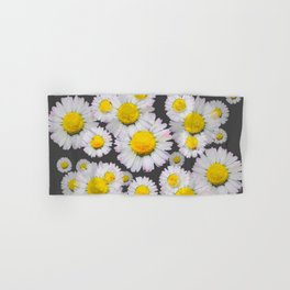 CHARCOAL GREY GARDEN OF SHASTA DAISY FLOWERS Hand & Bath Towel