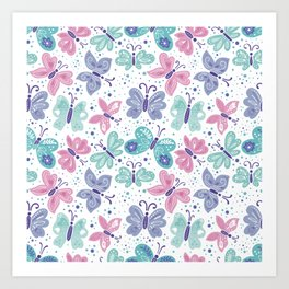 Multicolored butterflies pattern Art Print