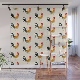 Roosters - Watercolor Print  Wall Mural