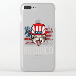 Cat Uncle Sam 4th Of July Clear iPhone Case