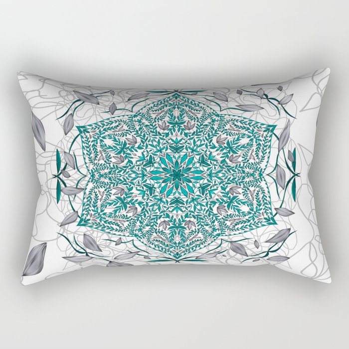 Woven Vines of Silver and Life Rectangular Pillow