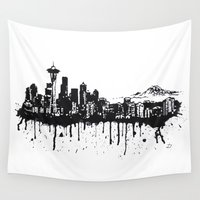 seattle Wall Tapestries featuring Seattle. by Dioptri Art