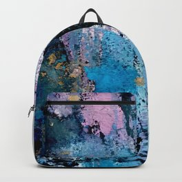 Breathe [3]: colorful abstract in black, blue, purple, gold and white Backpack