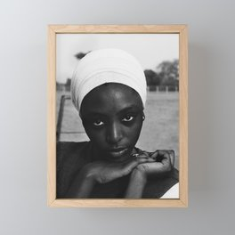 African American candid female form woman in turban black and white photograph / black and white photography Framed Mini Art Print