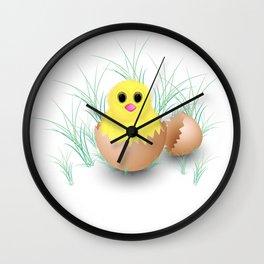 Chicken, chick, peeper, yellow chicken, egg shell, egg, shell, Easter, Easter chicken Wall Clock
