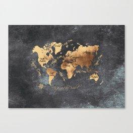 world map 147 gold black #worldmap #map Canvas Print