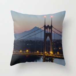 Mornings at St. Johns Bridge Throw Pillow