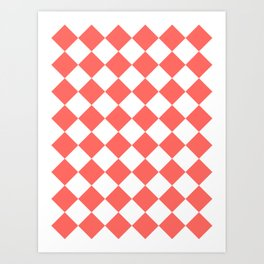 Large Diamonds - White and Pastel Red Art Print