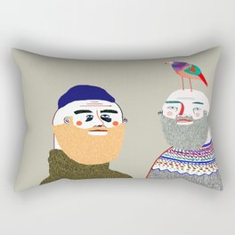 Friends and Bird. People illustration, funny, beard art, beard illustration, people, Rectangular Pillow
