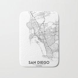 Minimal City Maps - Map Of San Diego, California, United States Bath Mat