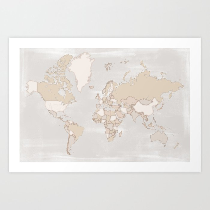 Rustic World Map In Grey And Brown Lucille Art Print By