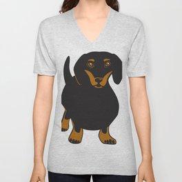 Black and Tan Dachshund Vector Art Frankie the Dachshund Gift for Dog Lover Unisex V-Neck