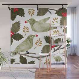 Birds and Holly in Greens, Golds and Red Wall Mural