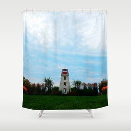 Garden and Lighthouse at the bottle houses Shower Curtain