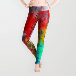 Eiffel Tower at Paris hotel and casino, Las Vegas, USA,with red blue yellow painting abstract backgr Leggings