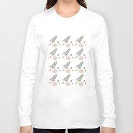 spaceship collage pattern Long Sleeve T-shirt