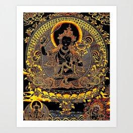 Manjushree Black Gold Thangka Art Print