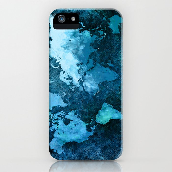 world map blue #map #world iPhone Case