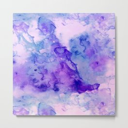 Peacock purple lavender hand painted bright abstract watercolor wash Metal Print