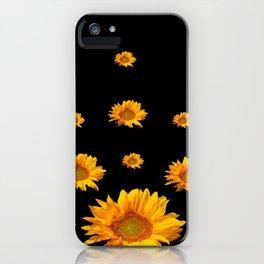 RAINING GOLDEN YELLOW SUNFLOWERS BLACK COLOR iPhone Case