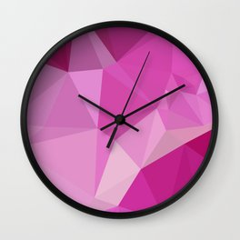 Fashion Fuchsia Pink Abstract Low Polygon Background Wall Clock