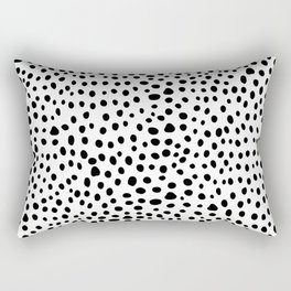 Modern Black and White Hand Drawn Polka Dots Rectangular Pillow