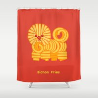 fries Shower Curtains featuring Bichon Fries by Anthony Irwin