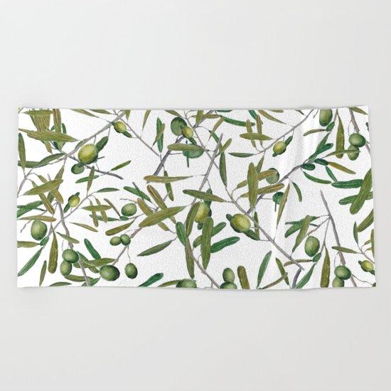 olive pattern  Beach Towel