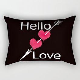 Hello love! Black background . Rectangular Pillow