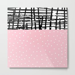 Black white pink polka dots geometric pattern Metal Print
