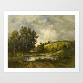 RICHET, LÉON 1847 Solesmes - 1907   Woman Collecting Brushwood by a Forest Lake. Art Print