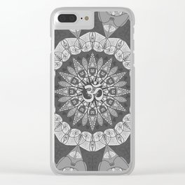 Mandala pattern gray yoga namaste floral om boho Clear iPhone Case